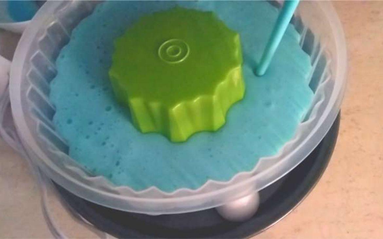 Llena la mitad del molde con la gelatina