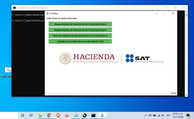 Abriendo Certifica SAT con Simbolo del sistema