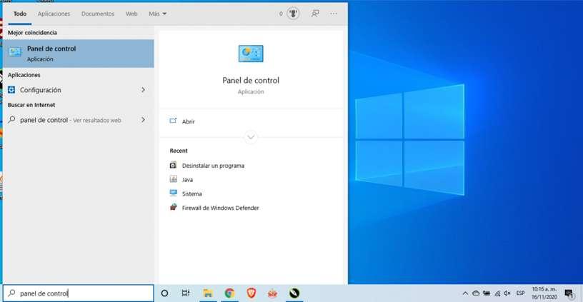 Buscar el panel de control en Windows 10
