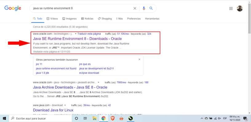 Cómo buscar en Google la versión de Java que necesito