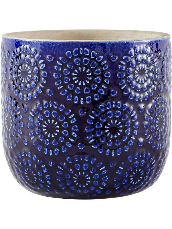Maceta azul de ceramica