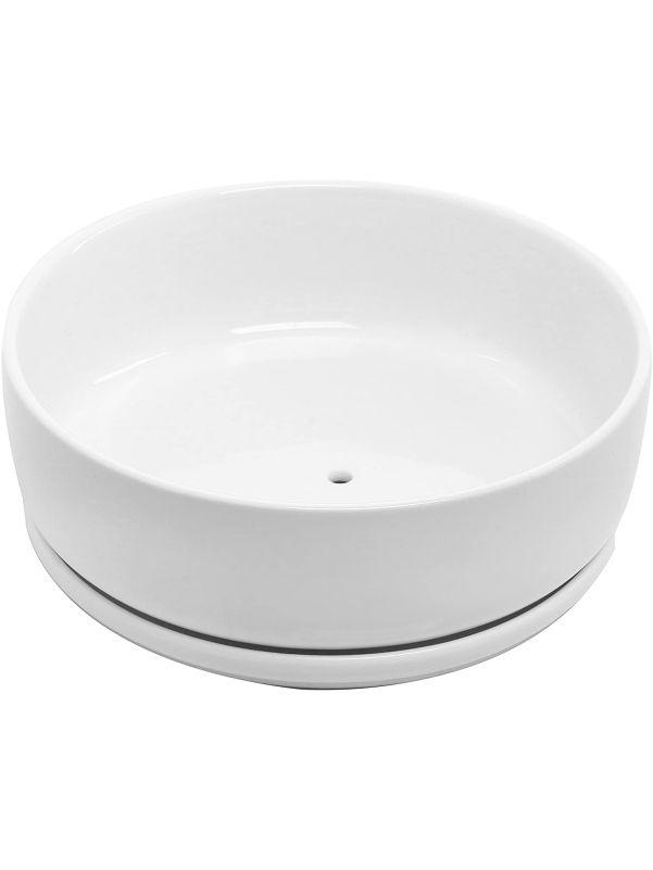 Maceta blanca minimalista redonda