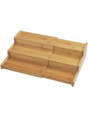 Organizador expandible de bambú tres niveles