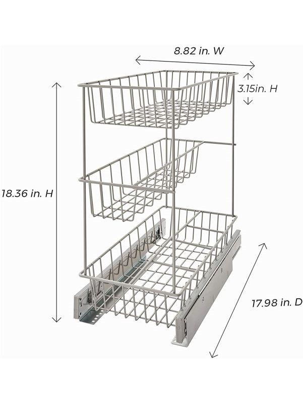Medidas del estante extraíble con tres canastillas
