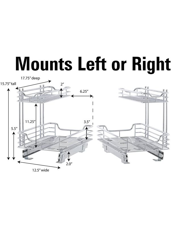 Medidas del estante extraíble para gabinetes